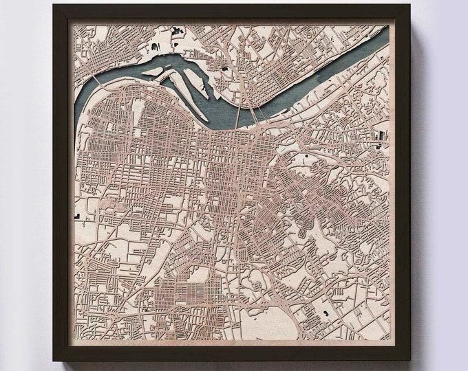 Louisville Wood Map - Laser Cut Custom Map Streets City 3d Framed Wooden Maps Travel Wall Art - Birthday Christmas Gift Wedding Gifts
