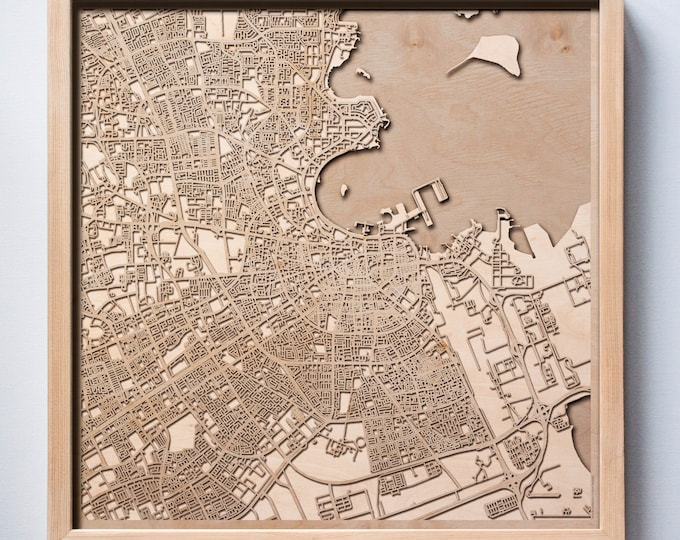 Doha Wooden Map -Laser Cut Wood Streets City Maps 3d Framed Minimal Minimalist Wall Art - Birthday Anniversary Christmas Wedding Gift