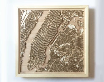 New York Wooden Map - Pinewood Laser Cut Streets City Maps 3d Framed Minimal Minimalist Wall Art Wood - Birthday Christmas Wedding Gift