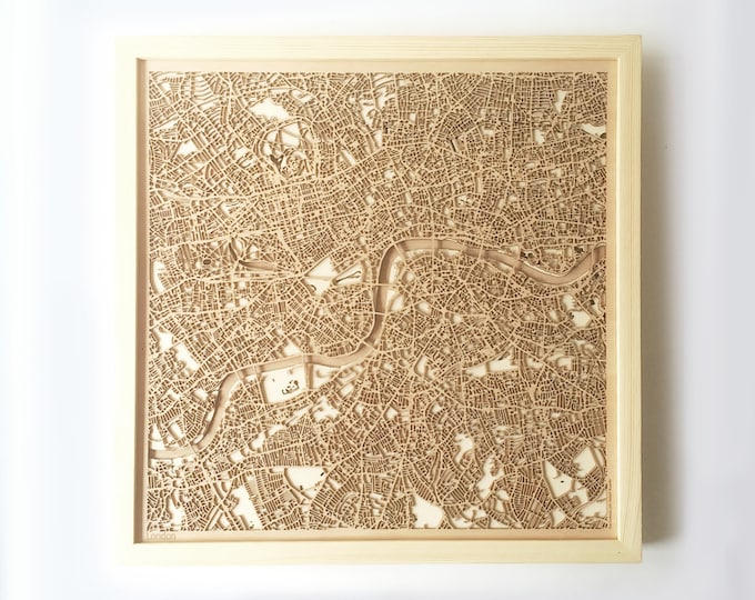 London Wooden Map - Pinewood Laser Cut Streets City Maps 3d Framed Minimal Minimalist Wall Art Wood - Birthday Christmas Wedding Gift