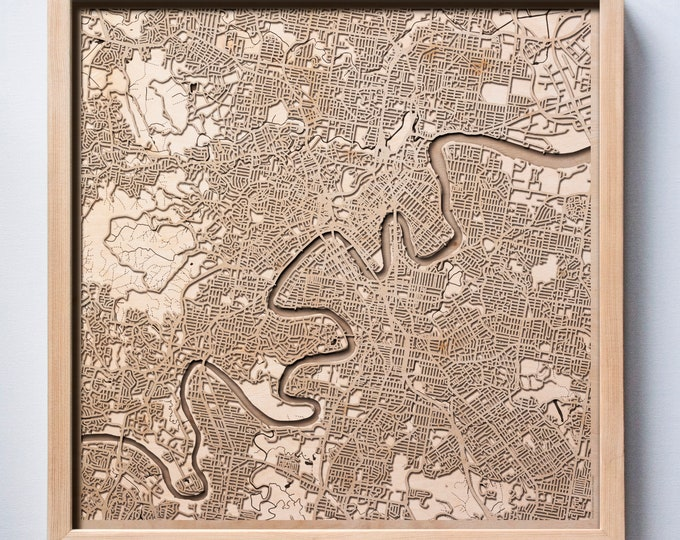 Brisbane Wooden Map -Laser Cut Wood Streets City Maps 3d Framed Minimal Minimalist Wall Art - Birthday Anniversary Christmas Wedding Gift