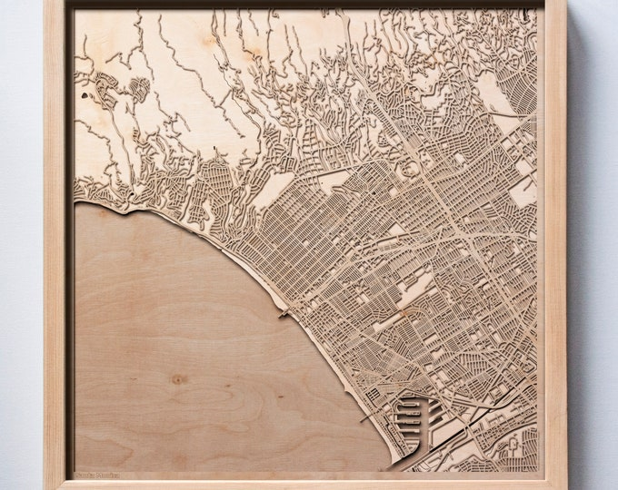 Santa Monica Wooden Map-Laser Cut Wood Streets City Maps 3d Framed Minimal Minimalist Wall Art - Birthday Anniversary Christmas Wedding Gift