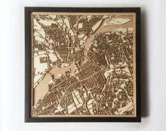 Ottawa Wooden Map - Black Laser Cut Streets City Maps 3d Framed Minimal Minimalist Wall Art Wood - Birthday Christmas Wedding Gift