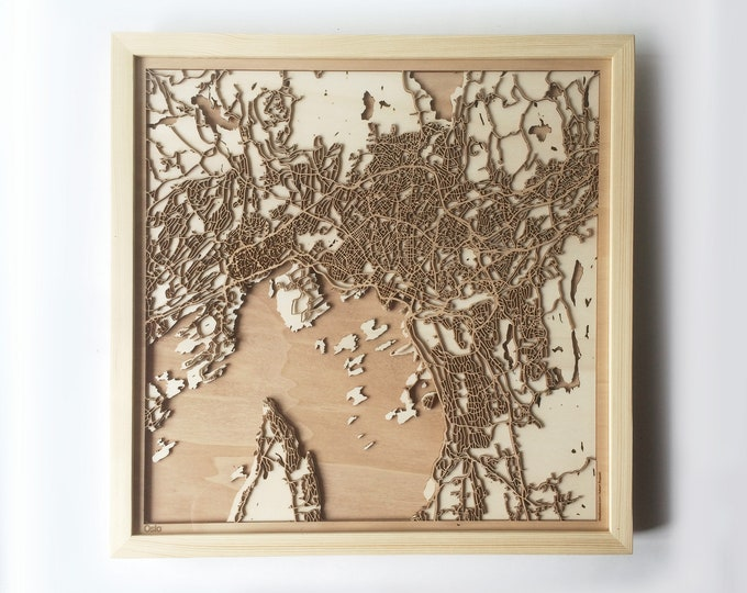 Oslo Wooden Map -Laser Cut Wood Streets City Maps 3d Framed Minimal Minimalist Wall Art - Birthday Anniversary Christmas Wedding Gift