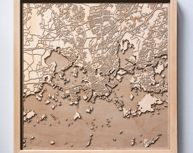 Helsinki Wooden Map -Laser Cut Wood Streets City Maps 3d Framed Minimal Minimalist Wall Art - Birthday Anniversary Christmas Wedding Gift