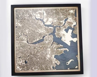 Boston Wood Map - Laser Cut Custom Map Streets City 3d Framed Wooden Maps Travel Wall Art - Birthday Christmas Gift Wedding Gifts