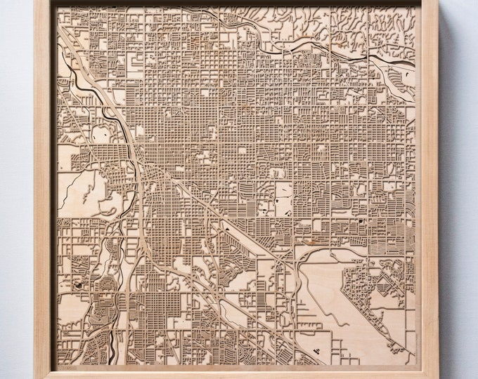 Tucson Wooden Map -Laser Cut Wood Streets City Maps 3d Framed Minimal Minimalist Wall Art - Birthday Anniversary Christmas Wedding Gift