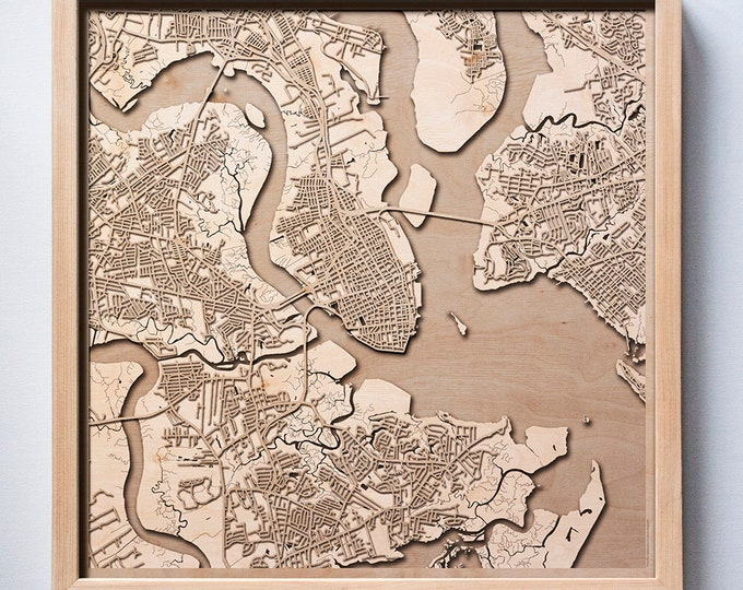Charleston Wooden Map - Pinewood Laser Cut Streets City Maps 3d Framed Minimal Minimalist Wall Art Wood - Birthday Christmas Wedding Gift