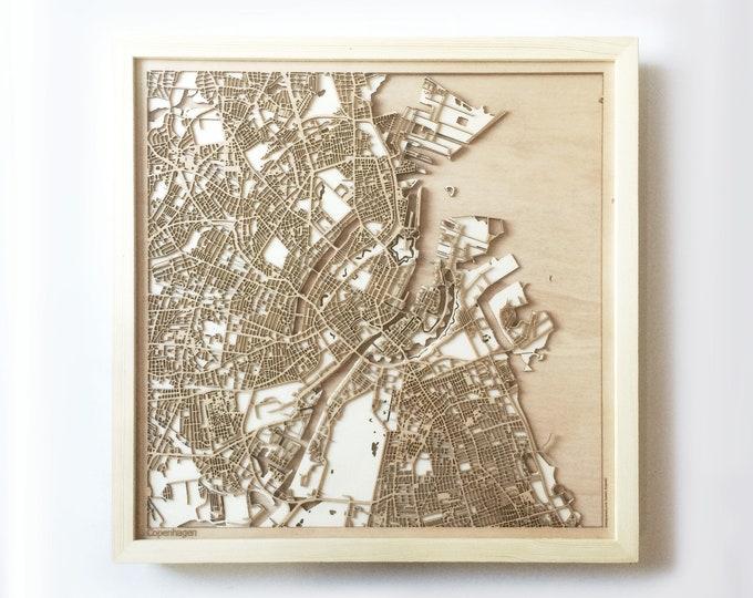 Copenhagen Wooden Map -Laser Cut Wood Streets City Maps 3d Framed Minimal Minimalist Wall Art - Birthday Anniversary Christmas Wedding Gift