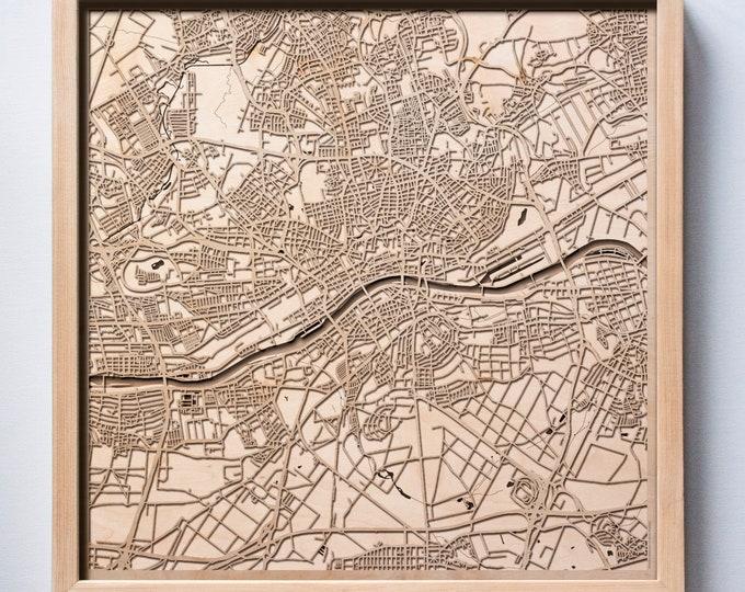 Frankfurt Wooden Map -Laser Cut Wood Streets City Maps 3d Framed Minimal Minimalist Wall Art - Birthday Anniversary Christmas Wedding Gift