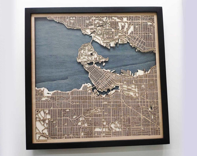 Vancouver Wood Map - 5th Anniversary Gift - Custom Wooden Map Laser Cut Framed Maps Wall Art - Wedding Engagement Gift for Couple