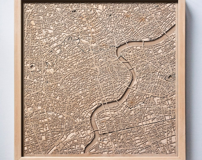 Shanghai Wooden Map - Pinewood Laser Cut Streets City Maps 3d Framed Minimal Minimalist Wall Art Wood - Birthday Christmas Wedding Gift