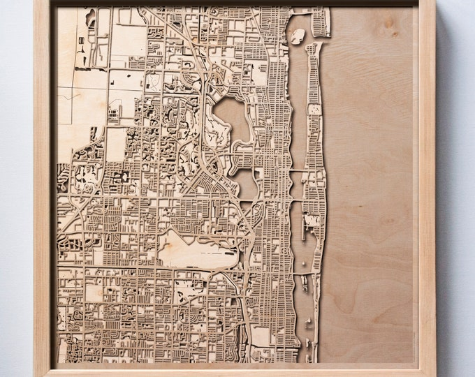 Palm Beach Wooden Map -Laser Cut Wood Streets City Maps 3d Framed Minimal Minimalist Wall Art - Birthday Anniversary Christmas Wedding Gift