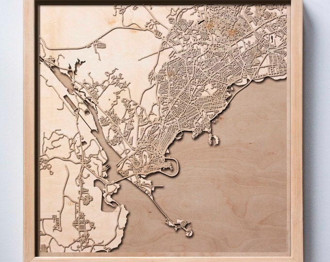 Panama Wooden Map - Laser Cut Wood Streets City Maps 3d Framed Minimal Minimalist Wall Art - Birthday Anniversary Christmas Wedding Gift