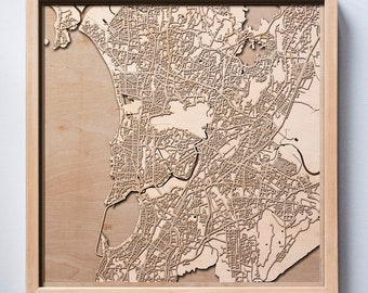 Mumbai Wooden Map - Laser Cut Wood Streets City Maps 3d Framed Minimal Minimalist Wall Art - Birthday Anniversary Christmas Wedding Gift