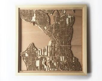 Seattle Wooden Map - Pinewood Laser Cut Wood Streets City Maps 3d Framed Minimal Minimalist Wall Art -Birthday Christmas Wedding Gift