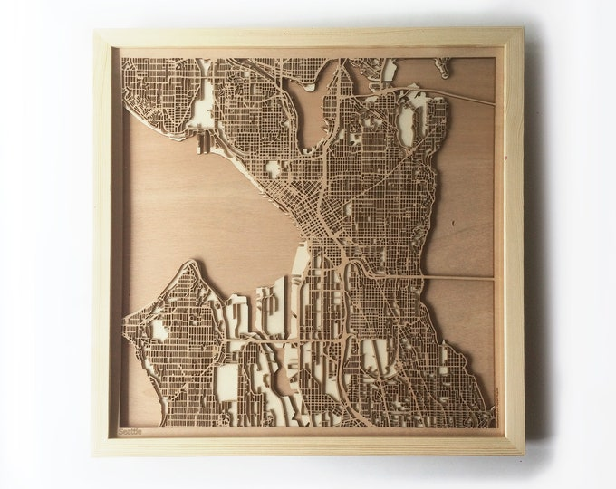 Seattle Wooden Map - Pinewood Laser Cut Wood Streets City Maps 3d Framed Minimal Minimalist Wall Art -Birthday Christmas Wedding Gift