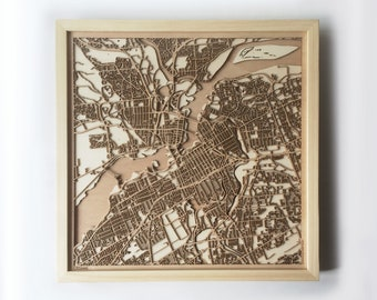 Ottawa Wooden Map - Pinewood Laser Cut Streets City Maps 3d Framed Minimal Minimalist Wall Art Wood - Birthday Christmas Wedding Gift