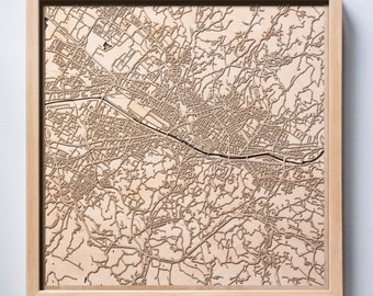 Florence Wooden Map -Laser Cut Wood Streets City Maps 3d Framed Minimal Minimalist Wall Art - Birthday Anniversary Christmas Wedding Gift