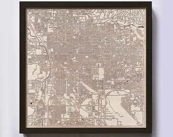 Tucson Wood Map - 5th Anniversary Gift - Custom Wooden Map Laser Cut Framed Maps Wall Art - Wedding Engagement Gift for Couple