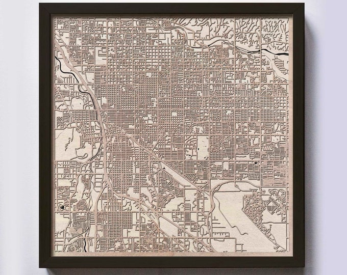 Tucson Wood Map - Laser Cut Custom Map Streets City 3d Framed Wooden Maps Travel Wall Art - Birthday Christmas Gift Wedding Gifts