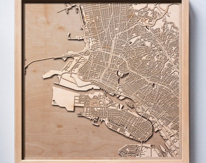 Oakland Wooden Map -Laser Cut Wood Streets City Maps 3d Framed Minimal Minimalist Wall Art - Birthday Anniversary Christmas Wedding Gift