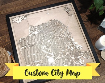 5th Anniversary Gift for Partner - Custom Wood Map - Any City - Laser Cut Engagement Gift for Couple, Wedding Gift for Couple Craftsman