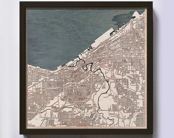 Cleveland Wood Map - 5th Anniversary Gift - Custom Wooden Map Laser Cut Framed Maps Wall Art - Wedding Engagement Gift for Couple