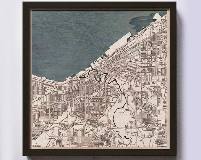 Cleveland Wood Map - Laser Cut Custom Map Streets City 3d Framed Wooden Maps Travel Wall Art - Birthday Christmas Gift Wedding Gifts
