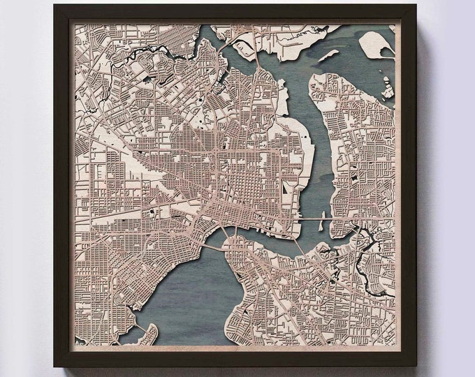 Jacksonville Wood Map - Laser Cut Custom Map Streets City 3d Framed Wooden Maps Travel Wall Art - Birthday Christmas Gift Wedding Gifts