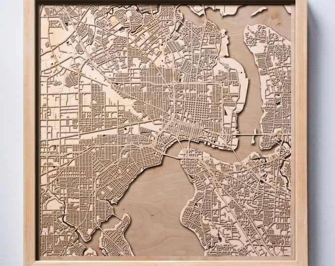 Jacksonville Wooden Map-Laser Cut Wood Streets City Maps 3d Framed Minimal Minimalist Wall Art - Birthday Anniversary Christmas Wedding Gift