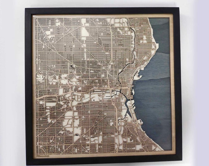 Milwaukee Wood Map - 5th Anniversary Gift - Custom Wooden Map Laser Cut Framed Maps Wall Art - Wedding Engagement Gift for Couple