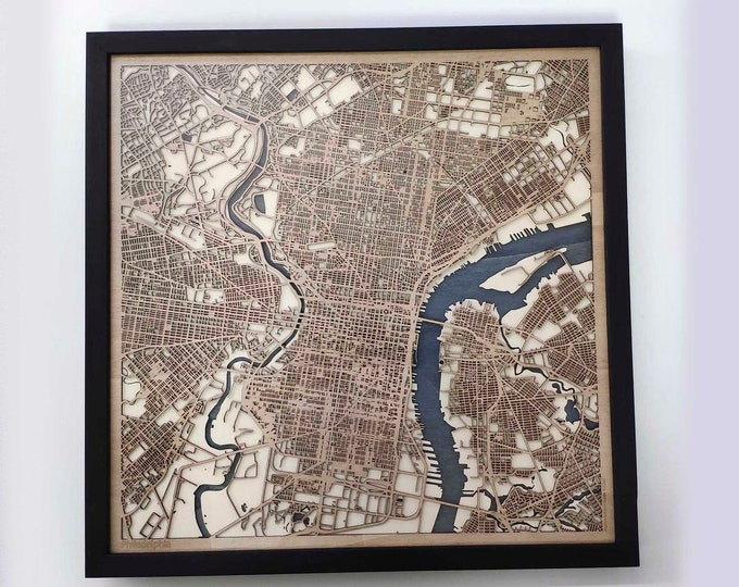 Philadelphia Wood Map - Laser Cut Custom Map Streets City 3d Framed Wooden Maps Travel Wall Art - Birthday Christmas Gift Wedding Gifts