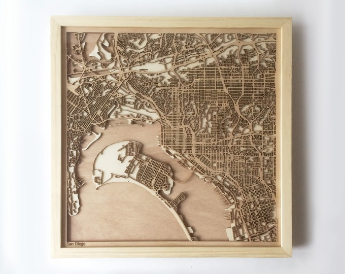 San Diego Wooden Map - Pinewood Laser Cut Wood Streets City Maps 3d Framed Minimal Minimalist Wall Art - Birthday Christmas Wedding Gift