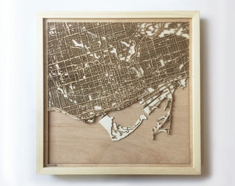 Toronto Wooden Map - Pinewood Laser Cut Streets City Maps 3d Framed Minimal Minimalist Wall Art Wood - Birthday Christmas Wedding Gift