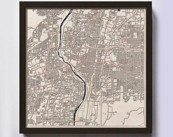 Albuquerque Wood Map - 5th Anniversary Gift - Custom Wooden Map Laser Cut Framed Maps Wall Art - Wedding Engagement Gift for Couple