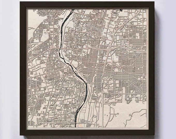 Albuquerque Wood Map - Laser Cut Custom Map Streets City 3d Framed Wooden Maps Travel Wall Art - Birthday Christmas Gift Wedding Gifts