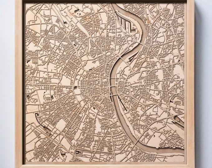 Cologne Wooden Map -Laser Cut Wood Streets City Maps 3d Framed Minimal Minimalist Wall Art - Birthday Anniversary Christmas Wedding Gift