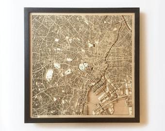 Tokyo Wooden Map - Black Laser Cut Wood Streets City Maps 3d Framed Minimal Minimalist Wall Art - Birthday Christmas Wedding Gift