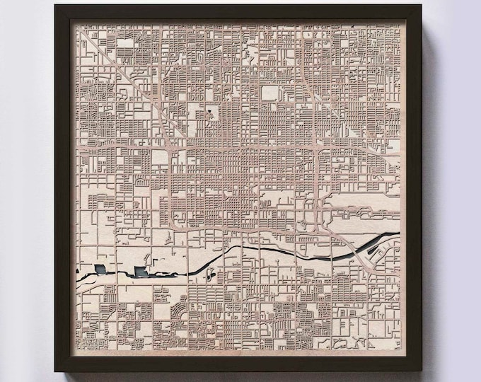 Phoenix Wood Map - 5th Anniversary Gift - Custom Wooden Map Laser Cut Framed Maps Wall Art - Wedding Engagement Gift for Couple