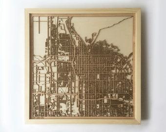 Salt Lake City Wooden Map-Laser Cut Wood Streets Maps 3d Framed Minimal Minimalist Wall Art - Birthday Anniversary Christmas Wedding Gift