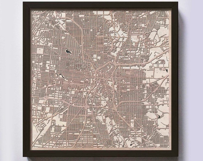San Antonio Wood Map - 5th Anniversary Gift - Custom Wooden Map Laser Cut Framed Maps Wall Art - Wedding Engagement Gift for Couple