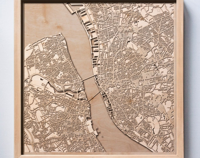 Liverpool Wooden Map -Laser Cut Wood Streets City Maps 3d Framed Minimal Minimalist Wall Art - Birthday Anniversary Christmas Wedding Gift