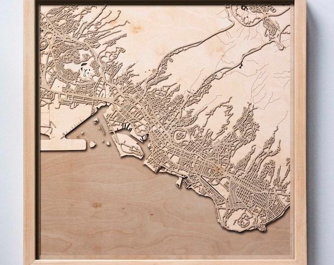 Honolulu Wooden Map - Pinewood Laser Cut Streets City Maps 3d Framed Minimal Minimalist Wall Art Wood - Birthday Christmas Wedding Gift