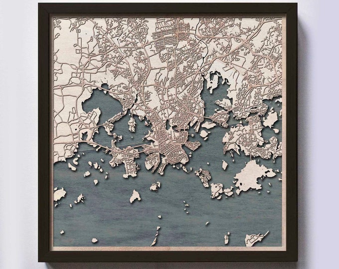 Helsinki Wood Map - Laser Cut Custom Map Streets City 3d Framed Wooden Maps Travel Wall Art - Birthday Christmas Gift Wedding Gifts