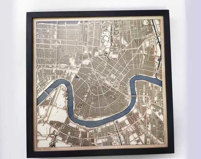 New Orleans Wood Map - Laser Cut Custom Map Streets City 3d Framed Wooden Maps Travel Wall Art - Birthday Christmas Gift Wedding Gifts