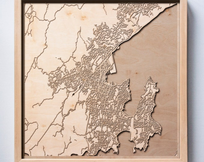 Wellington Wooden Map - Laser Cut Wood Streets Maps 3d Framed Minimal Minimalist Wall Art - Birthday Anniversary Christmas Wedding Gift
