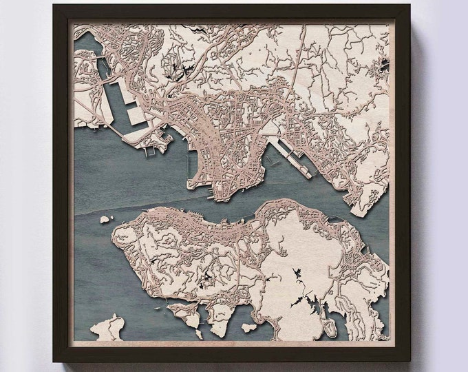 Hong Kong Wood Map - Laser Cut Custom Map Streets City 3d Framed Wooden Maps Travel Wall Art - Birthday Christmas Gift Wedding Gifts