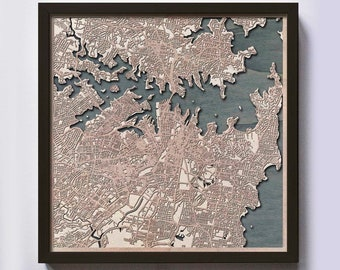 Sydney Wood Map - 5th Anniversary Gift - Custom Wooden Map Laser Cut Framed Maps Wall Art - Wedding Engagement Gift for Couple