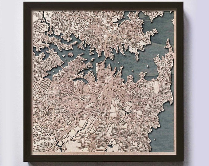 Sydney Wood Map - Laser Cut Custom Map Streets City 3d Framed Wooden Maps Travel Wall Art - Birthday Christmas Gift Wedding Gifts